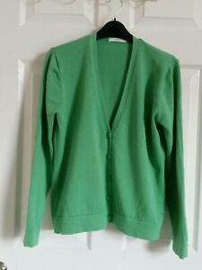 Green Cotton Cardigan By M & S 14 UK