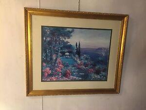 """Vintage Print """"the Garden"""" Signed """"Lawrence""""34X40.10pix4size/details. MAKE OFFER"""