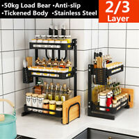2/3 Tier  Stainless Steel Spice Rack Kitchen Storage Organizer Jars Bottle Shelf