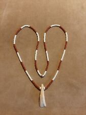 Buffalo Tooth Pendant & Glass Trade Bead Necklace,  Mountain Man, Rendezvous