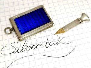 Cobalt Blue enamel book pendant antique Silver nib holder French hallmark