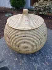 "Antique Inuit / Eskimo Coiled Sea-grass covered Basket Geometric Design 10"" tall"