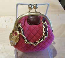 JUICY COUTURE Rare Quilted Velvet Coin Purse Key Fob Vintage