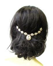 Gold Silver Bridal Headpiece Hair Vine Headband Rhinestone Vintage Diamante 1753