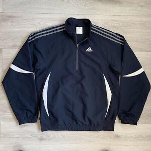 Adidas 1/4 Zip Jacket Size Medium M Mens Blue Pullover
