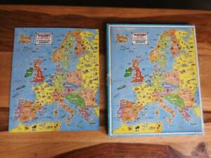VICTORY VINTAGE COMPLETE 50s WOODEN MAP JIGSAW PUZZLE INDUSTRIAL LIFE IN EUROPE