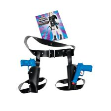 Black Ladies Thigh Twin Holster Set With Guns - Fancy Dress Croft 2 Laura x