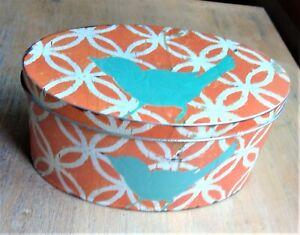 Creative Co-op decorative storage tin orange retro look bluebird Little e Studio