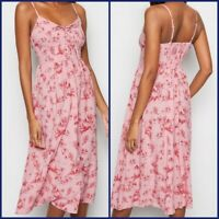 New Look Ladies Pink Palm Print Summer Holiday Dress Last Size 8