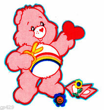 "3.5"" CARE BEARS CHEER BEAR CHARACTER NOVELTY FABRIC APPLIQUE IRON ON"