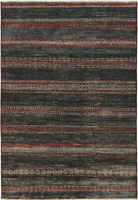 5X7 Hand-Knotted Gabbeh Carpet Modern Black Fine Wool Area Rug D43903