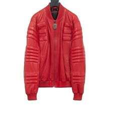 PHILIPP PLEIN - RED LEATHER BOMBER JACKET - SS14 - SIZE XL