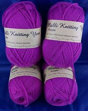 4Pk Purple Yarn 8Ply Acrylic Knitting Wool 100g Crochet Ball Needle Craft