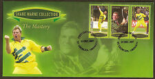 GRENADA 2007 SHANE WARNE CRICKET - THE MASTERY 3v GREEN Borders FIRST DAY COVER