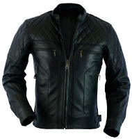 MENS BIKERS CLASSIC DIAMOND MOTORCYCLE BLACK SUPPLE LEATHER JACKET CE ARMOUR