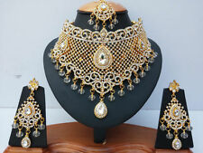 INDIAN JEWELLERY SET COSTUME CLEAR STONES GOLD PLATED NEW - AQ-06