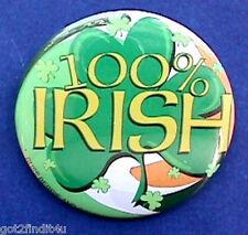 Russ Button Pin St Patrick Shamrock 100% Irish Vintage Holiday Pinback