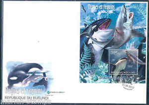 BURUNDI 2012 PROTECTION OF NATURE ORCAS AND SHARKS S/S FIRST DAY COVER