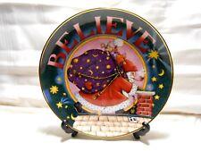 "Mary Engelbreit Christmas ""Believe"" 1 Plate 8"" Danbury Mint Santa w2s7"