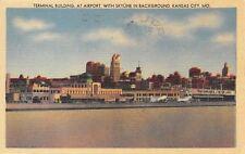 Kansas City Missouri~Airport Terminal~Transcontinental & Western~1946 Linen PC
