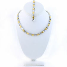 """Hugs and Kisses Necklace Bracelet Set Stampato Stainless Steel 2 Tone 18"""""""