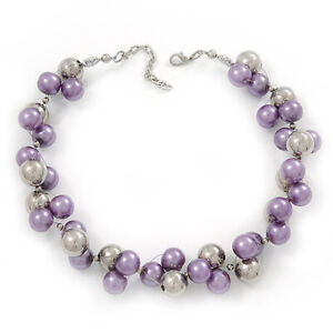 Purple/Mirrored Metallic Bead Cluster Choker Necklace - 38cm Length/ 5cm
