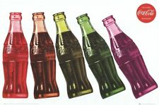 COCA COLA ~ COKE 5 DOMINO COLORED BOTTLES 24x36 POSTER Soda Pop NEW/ROLLED!
