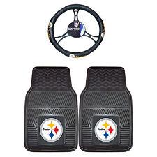 Pittsburgh Steelers Rubber Floor Mats & Steering Wheel Cover 3PC Set Universal