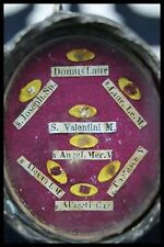 † ST VALENTINE + THERESE + JOSEPH + ALEXANDER POPE MULT RELIQUARY 8 THECA RELICs