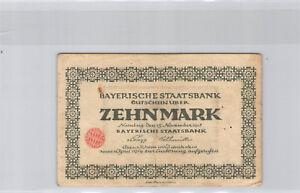 Allemagne Bavière 10 Mark 15.10.1918 Nuremberg n° 245702A