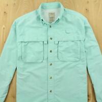 LL BEAN men's nylon blend trail shirt, size SMALL, light blue hiking fishing