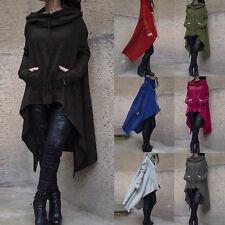 Neu Damen Cardigan Tunika Kapuze Pullover Sweat Sweatshirt Strickjacke Kragen