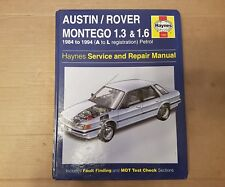 AUSTIN ROVER MONTEGO 1.3 & 1.6 HAYNES  MANUAL 1984 to 1994 (A to L reg) PETROL