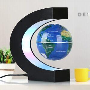 Magnetic Levitation Floating Earth Globe Map With C Shape Base LED Light Black