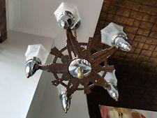 Vtg Art Deco Ceiling Fixture Chandelier Slip Shade 5 Light 1930 Electrolier Star