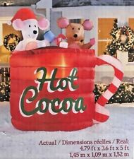 RARE NEW 5 FT TALL CHRISTMAS ANIMATED HOT COCOA MOUSE SCENE INFLATABLE BY GEMMY