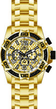 Invicta Men's Pro Diver Chrono 100m Gold-Plated S. Steel Gold Dial Watch 25854