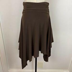 Portmans Womens Brown Gathered Handkerchief Knee Length Skirt Size XS A6