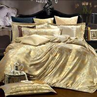 Silk Bedding Set 4pcs Tencel Duvet Cover Set Satin Bedding Bed Flat Bed Sheet