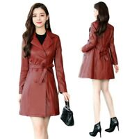 Women Mid Long Blazer Trench Faux Leather Double-breasted Belted Coat Outwears L