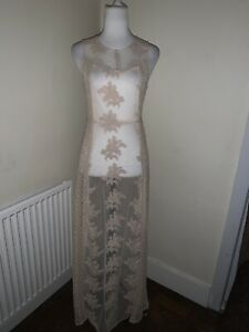 BNWT Forever 21 Beige Lace Long Maxi Dress Size Xs (6-8)
