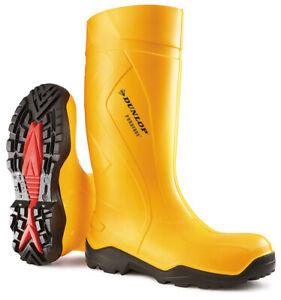 Dunlop Purofort + Full Safety Yellow Wellies - Size 9UK
