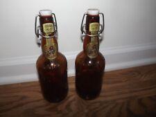 VINTAGE GROLSCH BEER PORCELAIN CAP & AMBER GLASS BOTTLES LOT OF 2 EMPTY