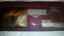 *NEW* ANNE KLEIN GENUINE *PLUM DARK PURPLE GOLD LEATHER CLUTCH BAG PURSE Rt $128