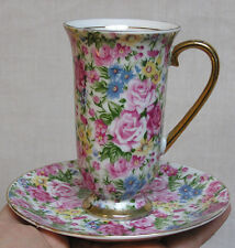 Vintage Arnart Royal Chintz Tall Cup and Saucer Gorgeous Pink Roses Blue Daisies