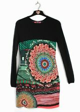 DESIGUAL (Sz 38) UK 10 Stretch Pencil Tunic Pattern Dress Mini Embroidered