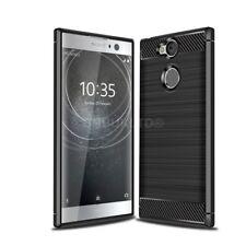 Para Sony Xperia XA2 de fibra de carbono Gel Funda & Vidrio Protector de pantalla