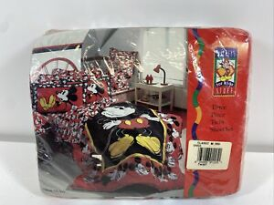 Vintage Classic Mickey Mouse Red & Black TWIN SHEET 3-PC SET NEW SEALED