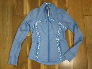 Lululemon Women's Blue/White Heather/Floral Full Zip Define Jacket Sz 6