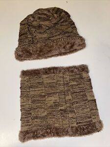 Hat And Neck Scarf Brown Unisex